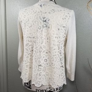 American Eagle Lace Back Open Front Cardigan   NWT